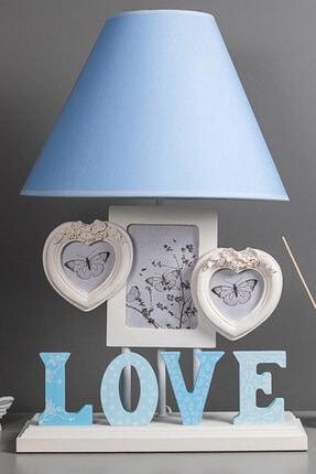Çerçeveli Abajur Love Mavi MH32003