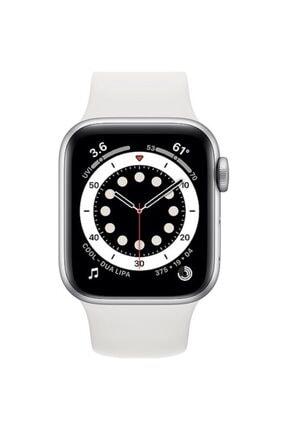 Apple Watch Series 6 Gps 44 Mm Gümüş Rengi Alüminyum Kasa Ve Beyaz Spor Kordon 1