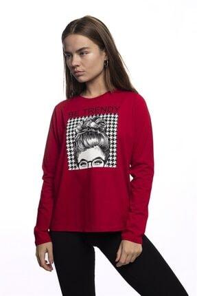 Miss Murem Kadın Kırmızı Be Trendy Kız Baskı Bluz 1
