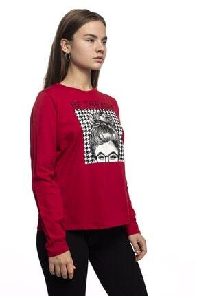 Miss Murem Kadın Kırmızı Be Trendy Kız Baskı Bluz 2