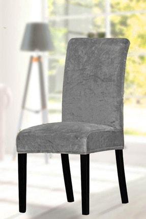 F faiend Gri Sandalye Kılıfı Yıkanabilir Kadife Esnek Sandalye Örtüsü 0