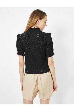 Koton Kadın Siyah T-Shirt 0YAK13124EK 3