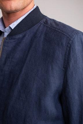 Dufy Lacivert Düz Keten Rahat Kalıplı Erkek Mont- Slım Fıt 1