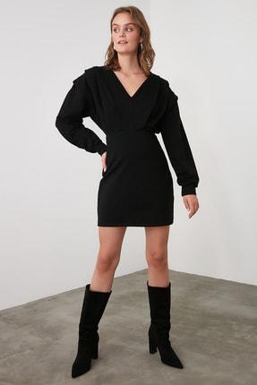TRENDYOLMİLLA Siyah V Yaka Beli Oturan Örme Elbise TWOAW21EL1976 0