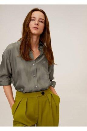 Mango Kadın Haki Renk Cepli Cupro Gömlek 67004413 1
