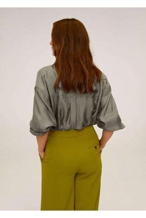 Mango Kadın Haki Renk Cepli Cupro Gömlek 67004413 2