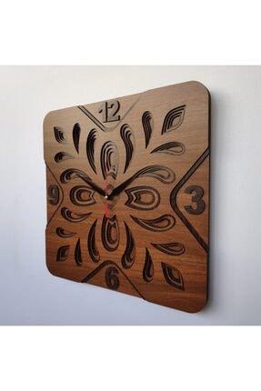 Desen Sanat Özel Tasarım Yonca Duvar Saati - 40x40cm - Ceviz 2