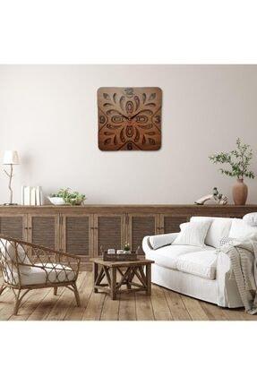 Desen Sanat Özel Tasarım Yonca Duvar Saati - 40x40cm - Ceviz 4
