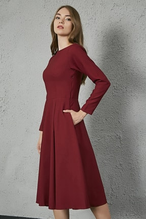 Sateen Kadın Bordo Uzun Kol Midi Krep Elbise 1