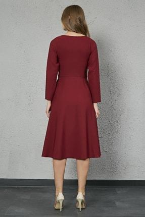 Sateen Kadın Bordo Uzun Kol Midi Krep Elbise 2