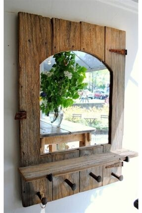Evmingo Ağaç Aynalı Askı & Raf 65x48cm 0