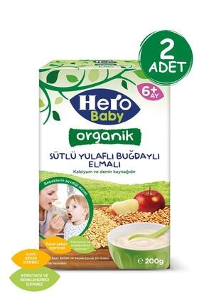 Hero Baby Organik Sütlü Buğdaylı Elmalı Kaşık Mama 200g 2 Adet 0