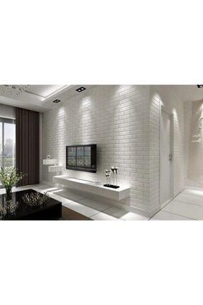 Renkli Duvarlar Yapışkanlı Sünger Beyaz Tuğla Duvar Kağıdı Kaplama Paneli 70x77 Cm 6 Adet 3