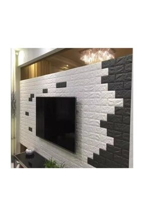 Renkli Duvarlar Nw01 Kendinden Yapışkanlı 8,5mm 70x77 Cm Sünger Beyaz Tuğla Duvar Kağıdı 1