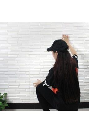 Renkli Duvarlar Nw55 Opak Küçük Taş Desen Kendinden Yapışkanlı Sünger Esnek Beyaz Duvar Paneli 70x77 Cm 6 Adet 1