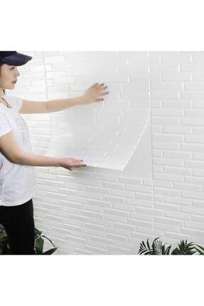 Renkli Duvarlar Nw55 Opak Küçük Taş Desen Kendinden Yapışkanlı Sünger Esnek Beyaz Duvar Paneli 70x77 Cm 6 Adet 2