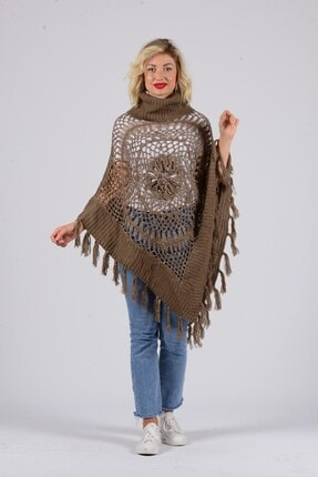 Gezgin tekstil ve aksesuar Kadın Camel Püsküllü Pullu Panço 0