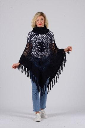 Gezgin tekstil ve aksesuar Kadın Lacivert Püsküllü Pullu Panço 0