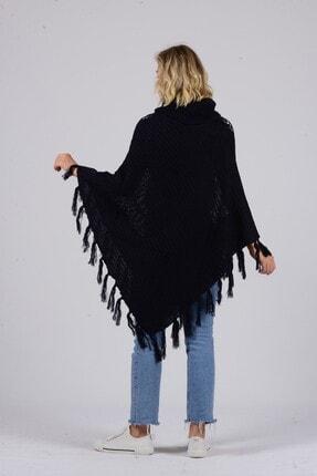 Gezgin tekstil ve aksesuar Kadın Lacivert Püsküllü Pullu Panço 2