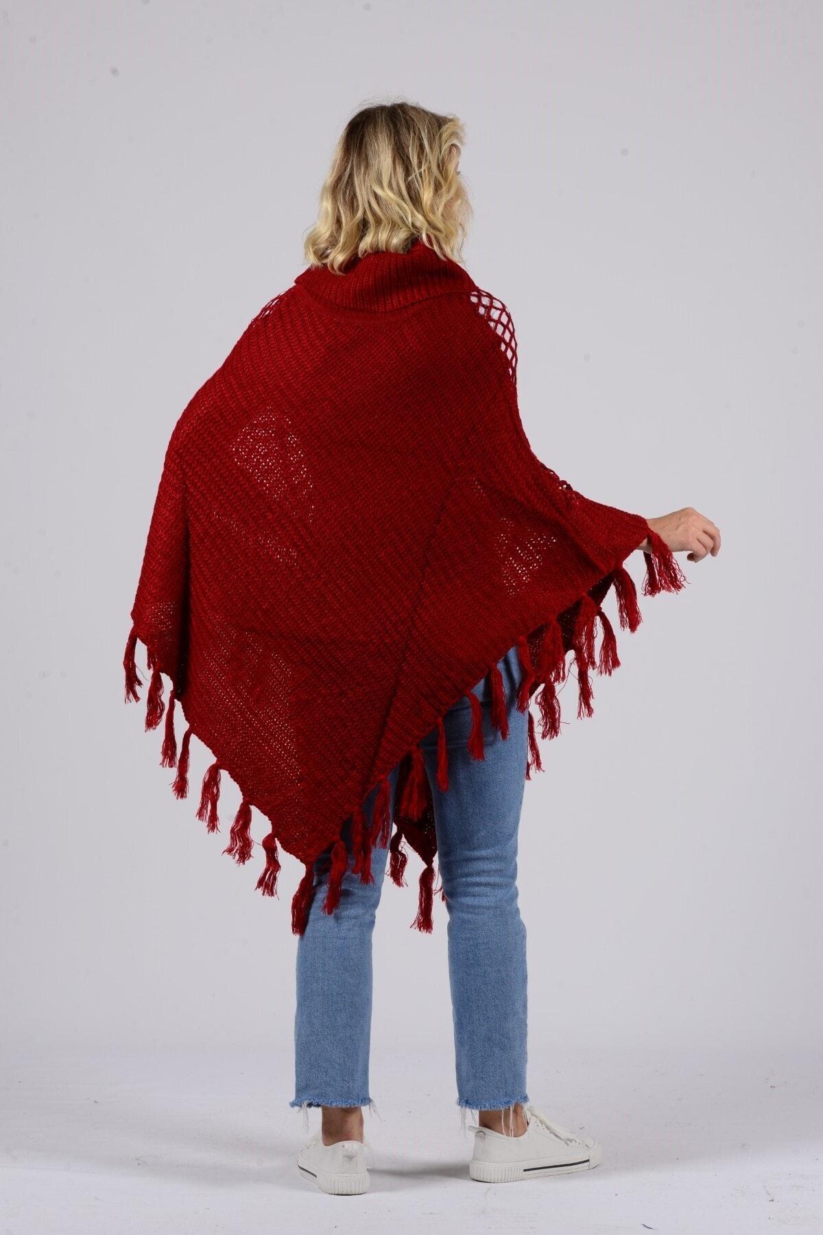 Gezgin tekstil ve aksesuar Kadın Bordo Püsküllü Pullu Panço