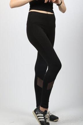 HAKKE Kadın Siyah Transparan Detaylı Tayt 2