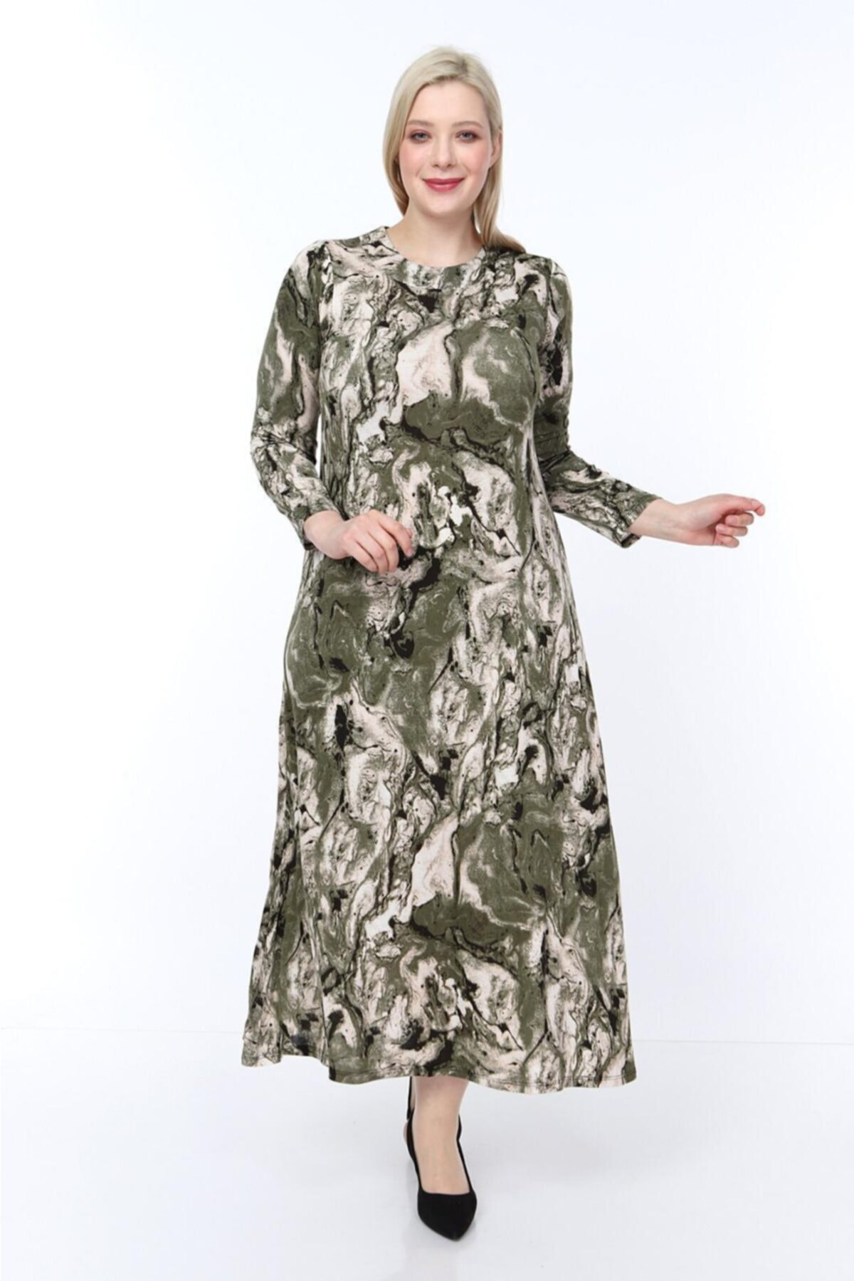 Kadın Yeşil Viskon Kumaş Baskı Desen Büyük Beden Elbise