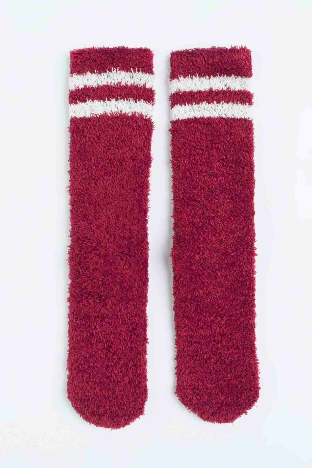 Penti Kadın Bordeaux Çizgili Soket Çorabı 0