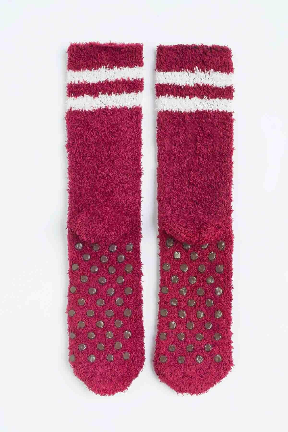 Penti Kadın Bordeaux Çizgili Soket Çorabı 2