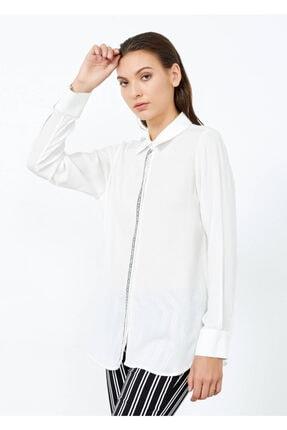 Adze Kadın Ekru Düğmeli Uzun Kol Gömlek 0