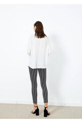 Adze Kadın Ekru Düğmeli Uzun Kol Gömlek 4
