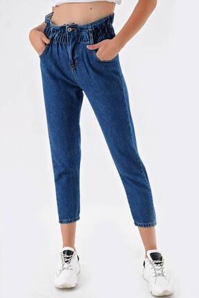 Modakapimda Koyu Mavi Beli Lastikli Jean Pantolon 0