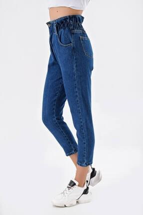 Modakapimda Koyu Mavi Beli Lastikli Jean Pantolon 2