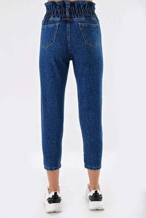 Modakapimda Koyu Mavi Beli Lastikli Jean Pantolon 3