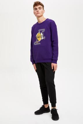Defacto Unisex Mor Nba Lisanslı Oversize Fit Sweatshirt 1