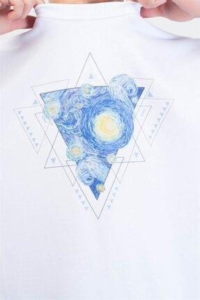 Trendiz Unisex Beyaz Vincet Stars Yuvarlak Yaka Sweatshirt 1