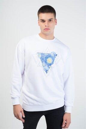 Trendiz Unisex Beyaz Vincet Stars Yuvarlak Yaka Sweatshirt 2