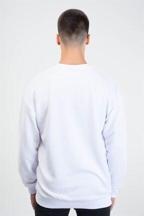 Trendiz Unisex Beyaz Vincet Stars Yuvarlak Yaka Sweatshirt 3