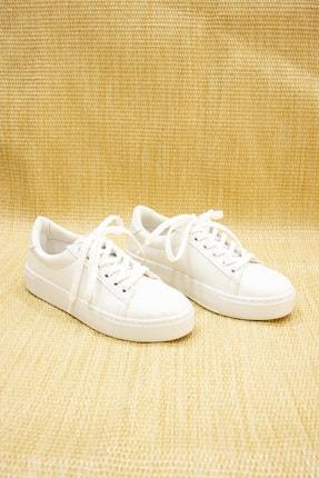 GNY AYAKKABI Kadın Beyaz Suni Deri  Sneaker 0