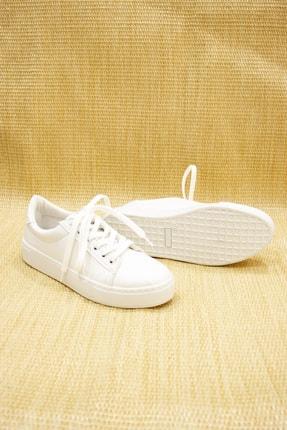 GNY AYAKKABI Kadın Beyaz Suni Deri  Sneaker 1