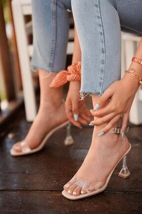 Stil Durağı Kadın Ten Rugan Kiko Model Şeffaf 8 cm Topuklu Şeffaf Bantli Ayakkabı 0
