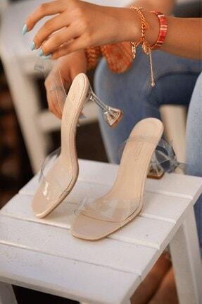 Stil Durağı Kadın Ten Rugan Kiko Model Şeffaf 8 cm Topuklu Şeffaf Bantli Ayakkabı 1