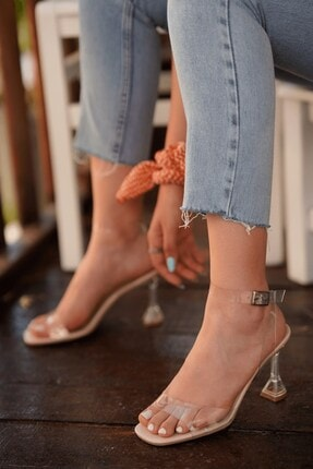 Stil Durağı Kadın Ten Rugan Kiko Model Şeffaf 8 cm Topuklu Şeffaf Bantli Ayakkabı 2