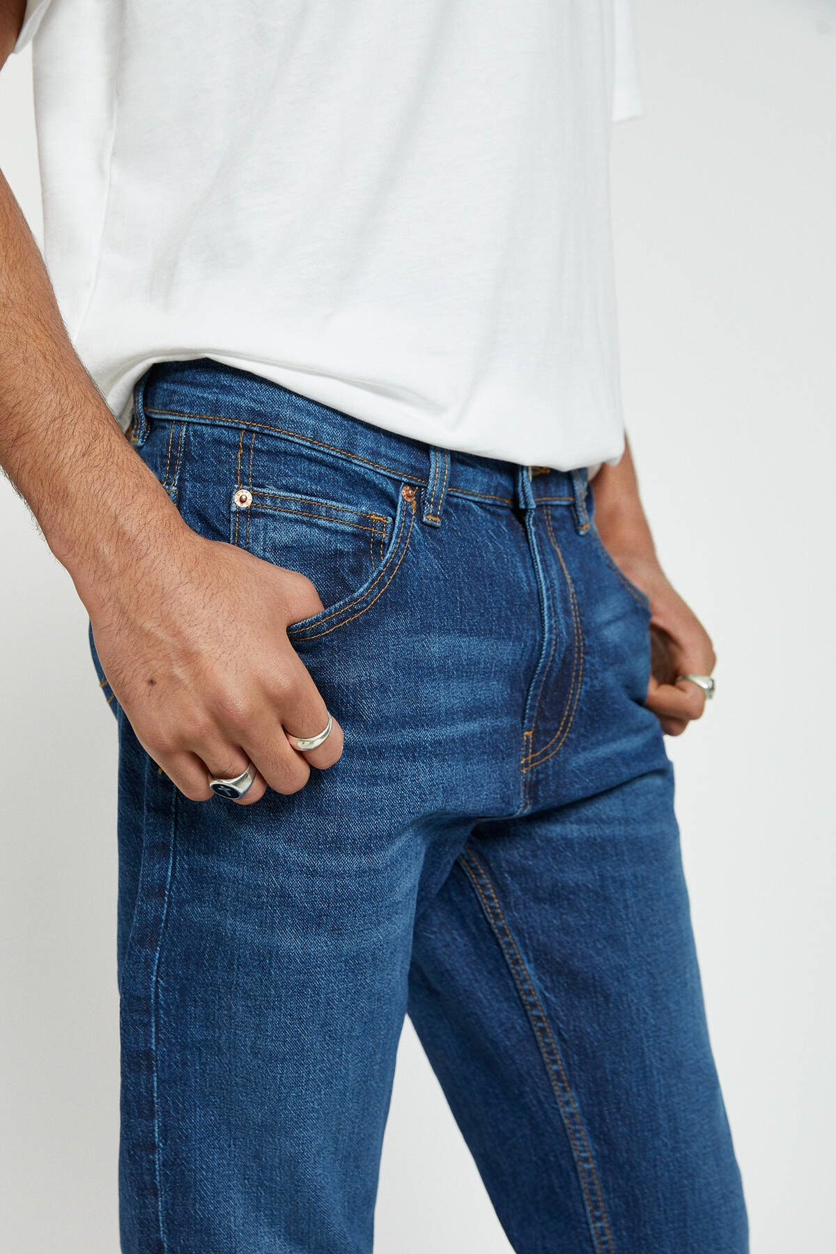 Pull & Bear Erkek Koyu Mavi Lacivert Regular Comfort Fit Jean 09683522 4