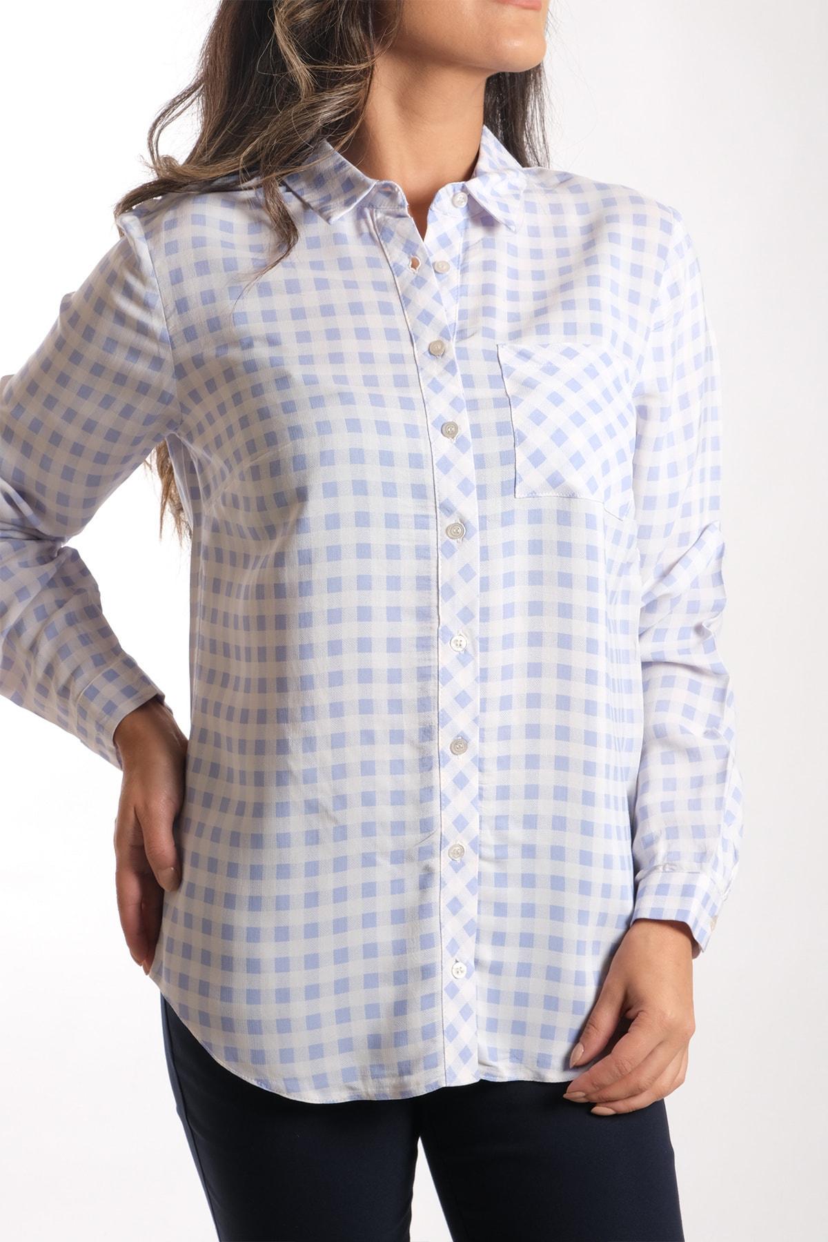 Kadın Mavi Kareli Gömlek