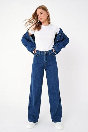 Trend Alaçatı Stili Kadın Mavi Yüksek Bel İspanyol Paça Jean ALC-X5004 1