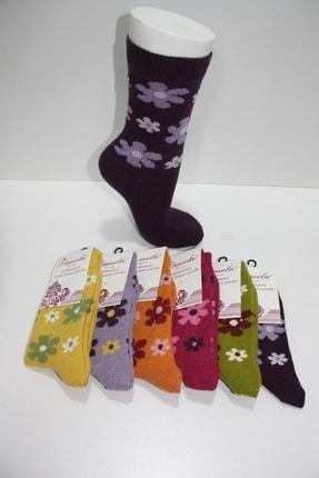 Pamela Kadın Mor Yün Çiçek Desenli Soket Çorap 6'lı 0