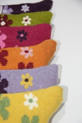 Pamela Kadın Mor Yün Çiçek Desenli Soket Çorap 6'lı 4