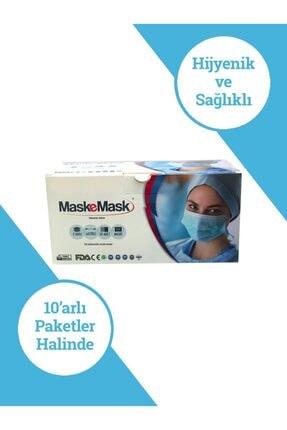 Maskemask Meltblown Full Ultrasonk Maske 3 Katlı Mavi Kumaş 100ad 4