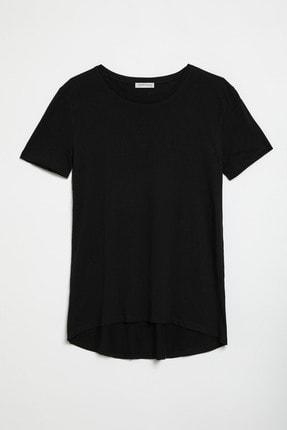 GRIMELANGE SAMANTHA Kadın Siyah Comfort Fit Arkası Uzun T-Shirt 0