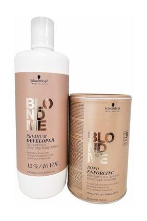 Schwarzkopf Blondme Premium Lift+9 Açıcı 450 G + Oksidan %12 40 Volume 1000 Ml 0
